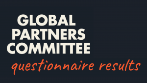 """Image shows text """"Global Partners Committee questionnaire results"""""""