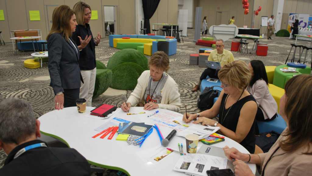 Image shows 2019 UDL-IRN Summit attendees participating in an activity.