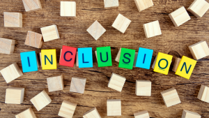 """Image shows blocks spelling out the word """"Inclusion"""""""