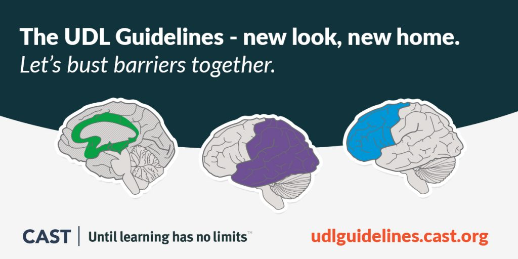 Image shows the brains representing the three parts of UDL along with the text: The UDL Guidelines - new look, new home. Let's bust barriers together. CAST: Until learning has no limits.
