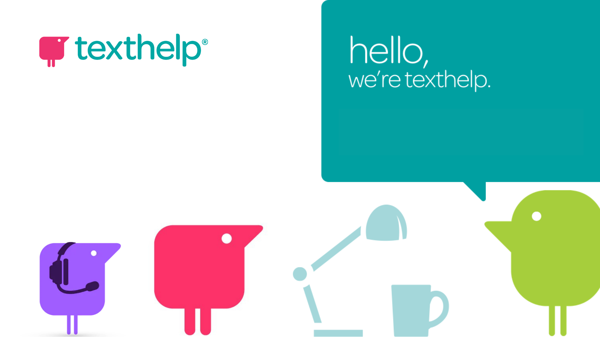 """Image shows Texthelp logo and figures with text """"hello, we're texthelp"""""""