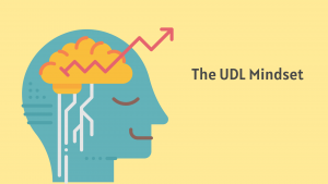 """Image shows a person's brain with an arrow pointing upwards alongside the text """"The UDL Mindset"""""""