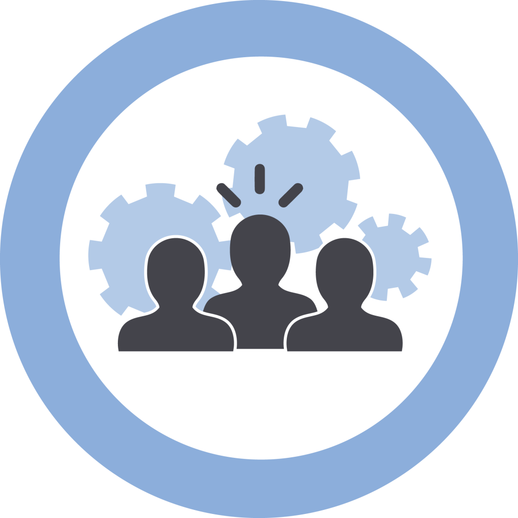 Icon representing Leadership and Management. Three silhouettes, one raised above the others, with gears behind them.
