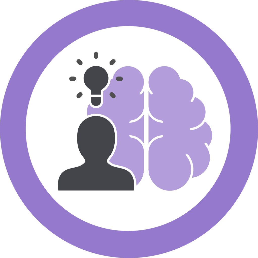 Icon representing Professional Learning. A silhouette with a lightbulb above it in front of a brain.