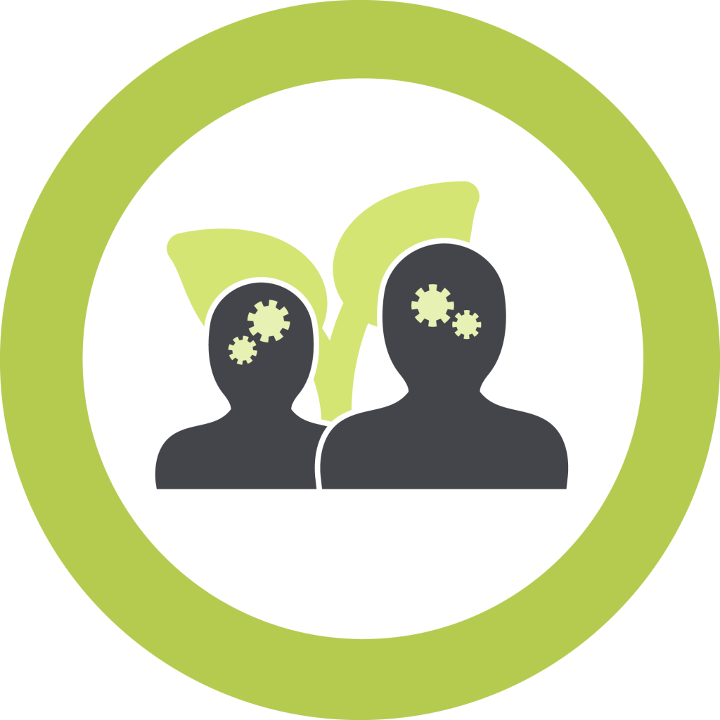 Icon representing Teaching and Learning. Two silhouettes (one larger than the other) in front of a growing plant.