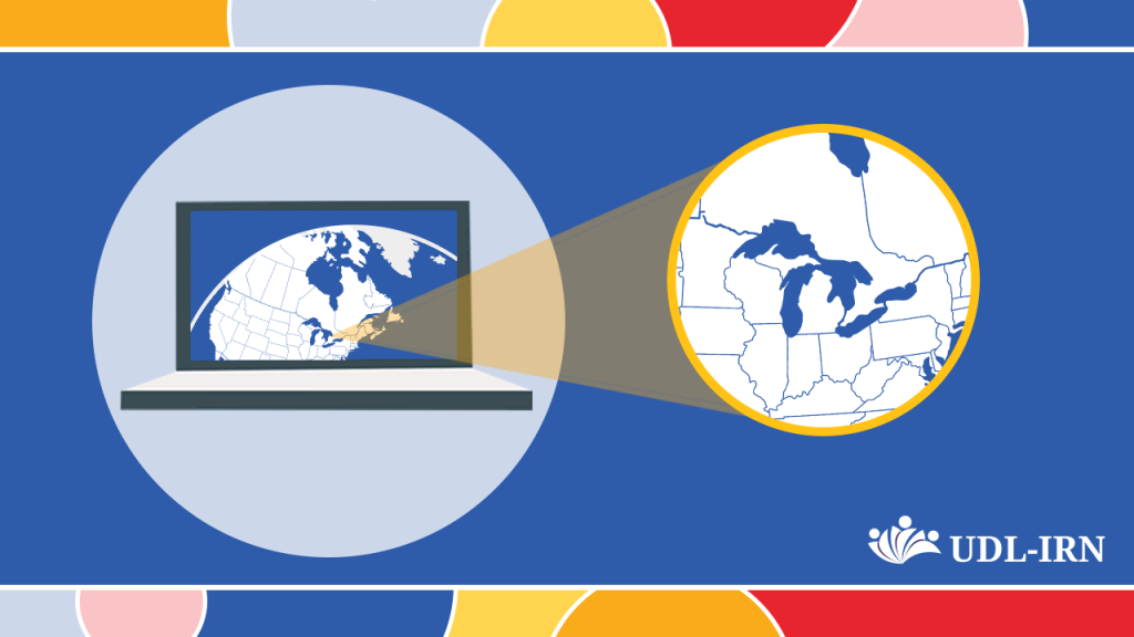 Image shows a laptop with the screen showing North America. There is a highlighted section over the Great Lakes Region.